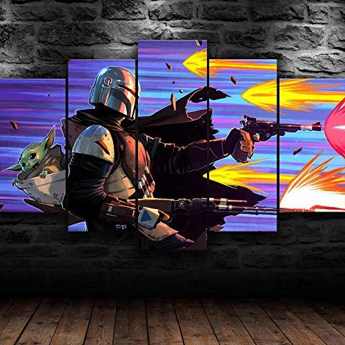 GSDFSD Cuadro en Lienzo 200x100 cm Impresión de 5 Piezas Star Wars Mandalorain Fanart Material Tejido no Tejido Impresión Artística Imagen Gráfica Decoracion de Pared