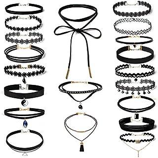 20 PCS Women Choker Necklaces Black Velvet Stretch Tattoo Choker Necklace Set for Girls
