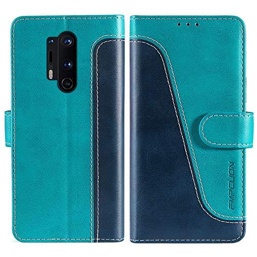 FMPCUON Handyhülle für OnePlus 8 Pro Hülle Leder,Premium Klapphülle Handytasche Flip Hülle Handy Hüllen Schutzhülle für OnePlus 8 Pro,Blau/Grün