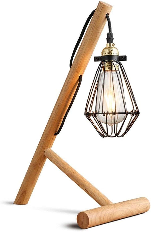 Mpotow Amerikanischen Minimalistischen Retro Holztisch Lampe Kreative Persnlichkeit Metall Schmiedeeisen Lampe Schreibtisch Licht Schlafzimmer Büro Studie Wohnzimmer Leselampe E27