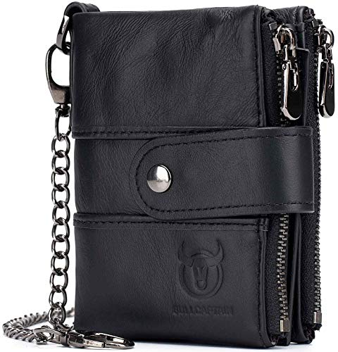 Leather Men Wallet with Anti-Theft Chain,Genuine Leather RFID Blocking Vintage Hasp Bifold Wallets Multifunctional Card Holder Minimalist Purse Zipper Coin Pocket with ID Window 1