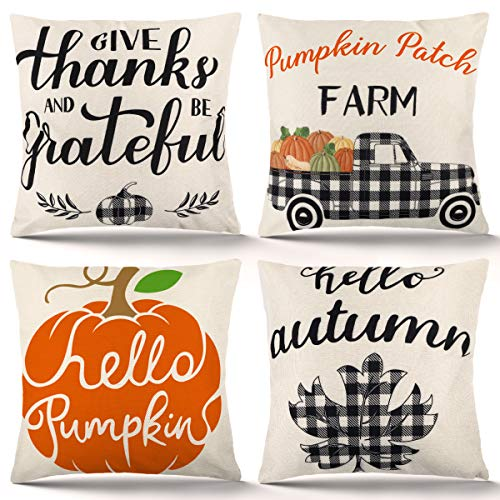 ZJHAI Fall Pillow Covers 18x18 Inch Set of 4 Fall Decor for Home Autumn Pumpkin Pillow Covers Holiday Rustic Linen Pillow Case for Sofa Couch Farmhouse Thanksgiving Throw Pillow Covers
