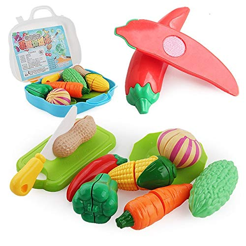 AGOOLZX Kitchen ToysChildren Pretend Role Play Plastic Kitchen Fruit Vegetables Cutting Toys Set Kid Classic Educational Pretend Toy Game Gift