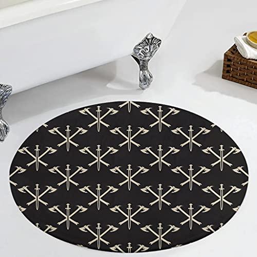 Veryday Alfombra redonda con diseño de espada vikinga, estilo vintage, para dormitorio, para la puerta de la casa, para habitación de los niños, color blanco, 60 cm