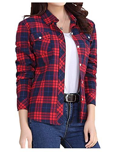 Mulanda Flannel Shirt Women Plaid Shirts Red Long Sleeve Cotton Button Down Shirts