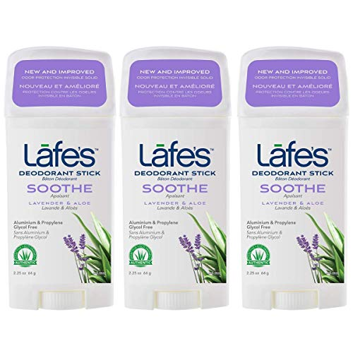 Lafe's Natural Body Care | Soothe - Lavender & Aloe - Deodorant Stick | 24-Hour Protection & All Natural; 3 Pack (2.25 oz each)