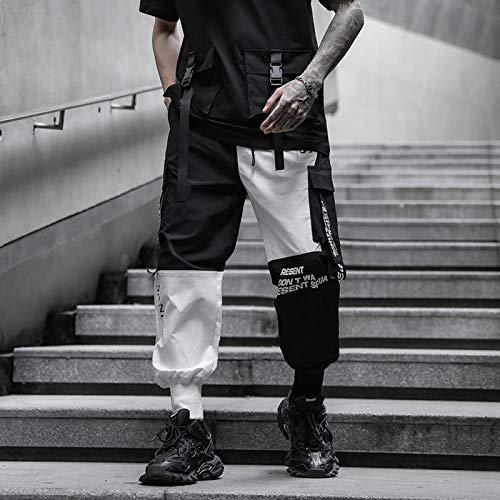 haochenli188 Hip Hop Ribbon Cargo Pants Pantalones De Jogging para Hombres Streetwear Moda Pantalones De Cintura EláStica Pantalones Pantalones De CháNdal XXXL 808