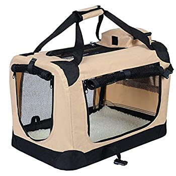 EUGAD 0104HT Cage de Transport en Oxford Sac de Transport Pliable pour Chien ou Chat,Beige 49,5x34,5x35cm