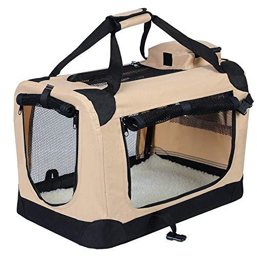EUGAD 0110HT Hundebox faltbar Hundetransportbox Auto Transportbox Reisebox Katzenbox Beige 60 x 42 x 42 cm