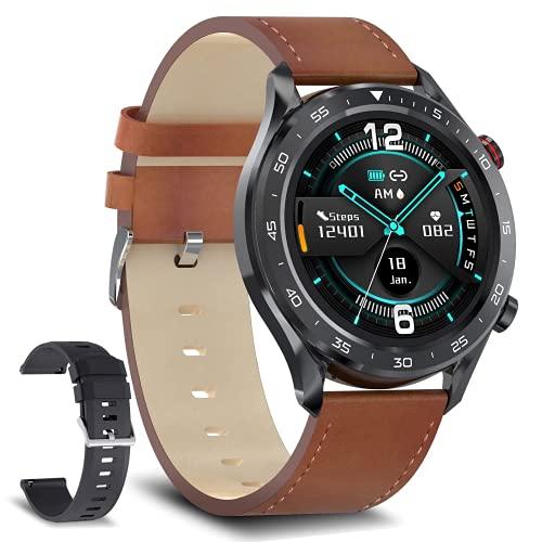 """Bebinca Smartwatch Montre connectée pour Hommes 1.28""""Passer et recevoir des appels Mains Libres, Haut-Parleur Bluetooth avec Lecteur de Musique 128M, Fitness Tracker 3ATM étanche iOS/Android (Noir)"""