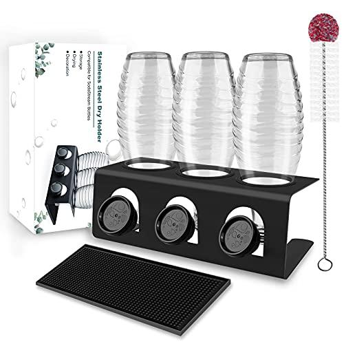 Flaschenhalter für Sodastream Glasflaschen aus Edelstahl mit Abtropfwanne, 3er Abtropfhalter mit Flaschenbürste & Abtropfmatte Abtropfgestell Abtropfständer für SodaStream Crystal und Emil Flaschen