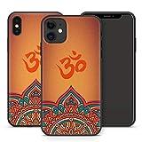 Handyhülle Om für iPhone Apple Silikon MMM Berlin Hülle Flower Esoterik Shiva Goa Mandala Yin Yoga, Kompatibel mit Handy:Apple iPhone 12, Hüllendesign:Design 1 | Silikon Schwarz