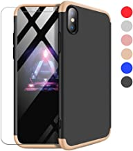 soundmae iPhone 6s Plus Case, iPhone 6 Plus Case, 3 In 1 Hard Slim Cover, [Non Slip Matte] [Electroplate Frame] [Screen Protector] Full-Body Protective Case for iPhone 6s Plus/6 Plus, Gold and Black