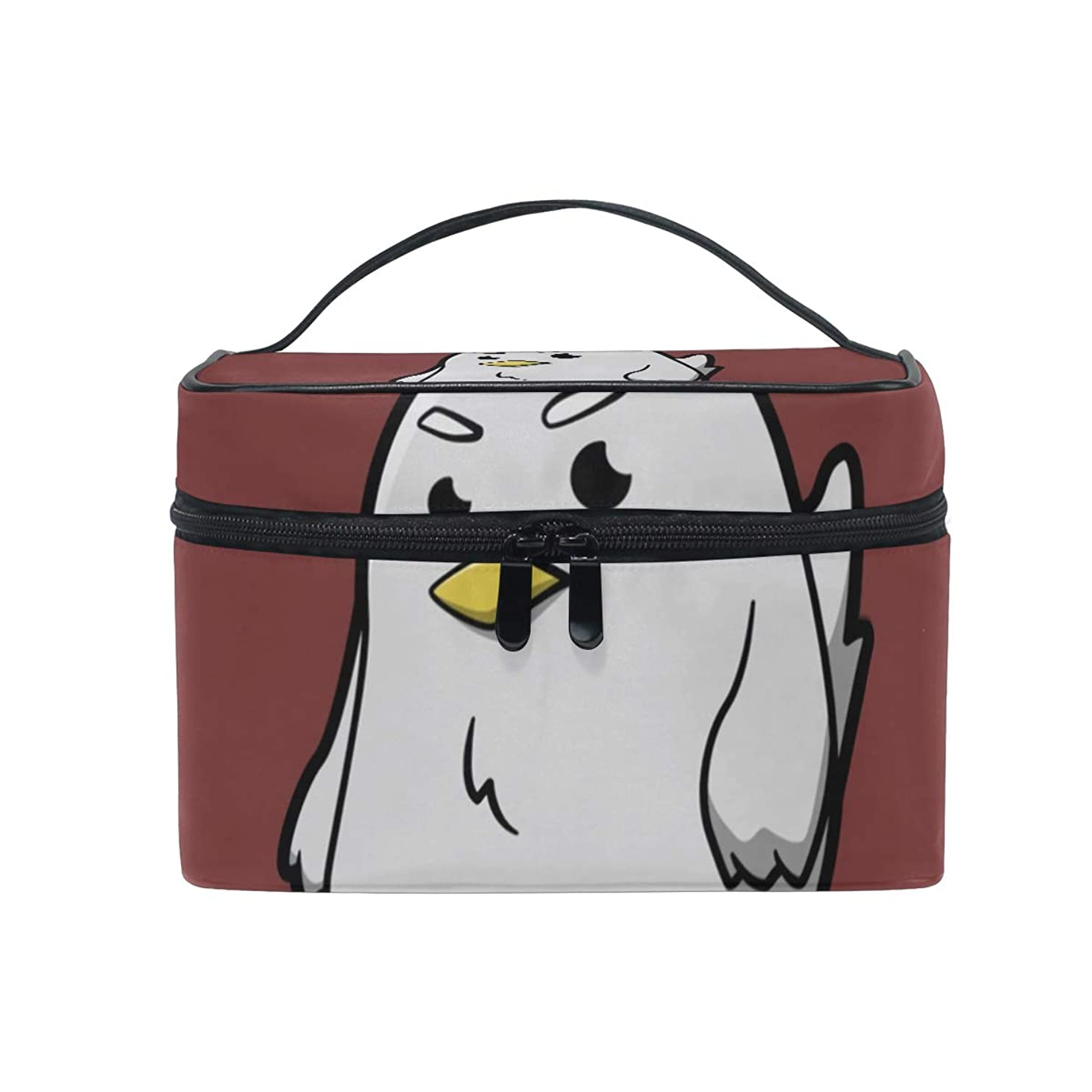 ハント優先むちゃくちゃメイクボックス 鶏柄 ひよこ柄柄 化粧ポーチ 化粧品 化粧道具 小物入れ メイクブラシバッグ 大容量 旅行用 収納ケース