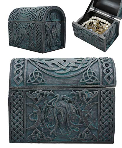 Ebros Celtic Triple Goddess Mother Maiden Crone Decorative Jewelry Box Figurine With Trinity Triune Knotwork Wicca Witchcraft Accent 4.75' Wide
