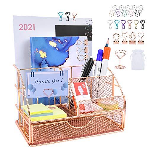 Organizador de escritorio, escritorio ordenado con cajones y clips de metal, accesorios de escritorio de oro rosa para mujeres