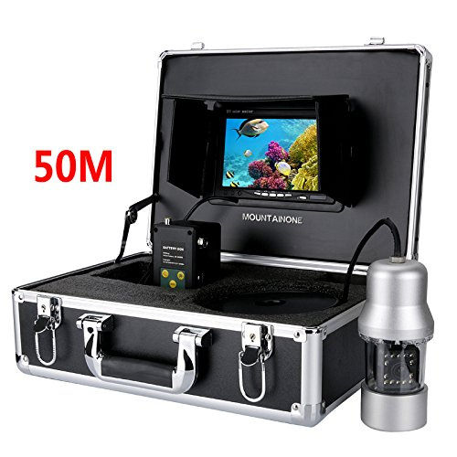 MAOTEWANG 50M 1/3 Inch Sony CCD Underwater Fishing Camera - 360 Degree View, Remote Control, 7 Inch LCD Monitor, 14x White Lights