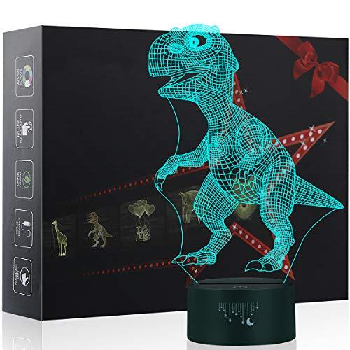 Dinosaure 3D Lampe optique Illusion, Yunplus 7 Couleurs Décoration Pour Veilleuse avec Acrylique Flat & ABS Base & Chargeur LED USB Modifier toucher vous Botton Lampe de Bureau Lampe de Table