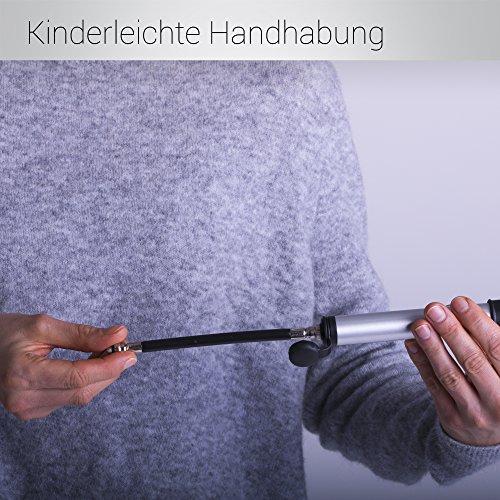 Bergsteiger Fahrradpumpe Minipumpe für Schrader Autoventil & Presta Sclaverand-Ventil, inkl. Flex-Schlauch, Ballpumpe, Original Fahrrad-Zubehör - 3