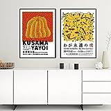 VCFHU Yayoi Kusama Pintura Poster E Impresiones De Moda Cuadros Famosas Lienzo Abstracto Arte De La Pared para La Salon De Estar Decoracion del Dormitorio del Hogar 40x60cmx2 Sin Marco