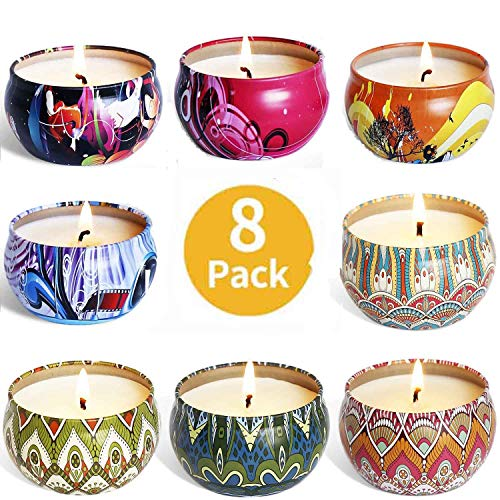 XYUT Scented Candles Gift Set, 100% Natural Soy Wax Travel Tin Candles for Stress Relief and Aromatherapy Relaxation, 8 x 2.5 Ounce Tins