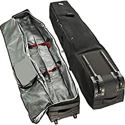 powerful Athletico Rolling Double Ski Bag – Padded Ski Bag with Wheels for Air Trave (Black, 190 cm)
