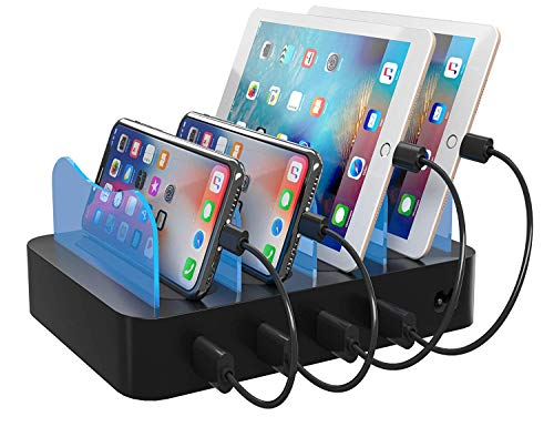 Hercules Tuff Charging Station for Multiple Devices 2-in-1 Device Organizer + Charger - 4 USB Ports (Short Cables Included)