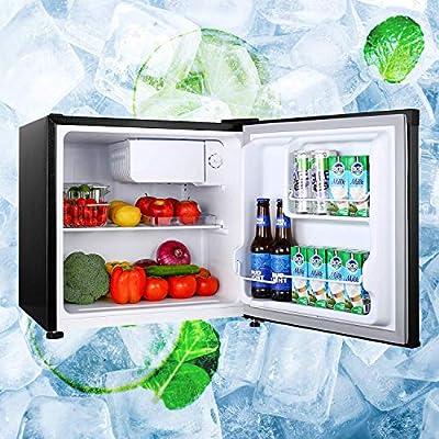 Compact Refrigerator, 1.6 Cu.Ft, TECCPO, Energy Star, Super Quiet, Reversible Door, Mini Fridge with Freezer, Small Refrigerator, for Dorm, Bedroom, Office, RV, Apartment, Black-TAMF04