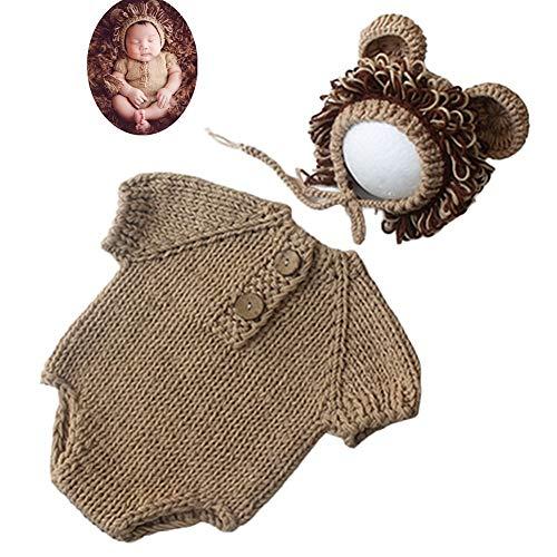 DC CLOUD Disfraz Bebe Recien Nacido Atrezzo Fotografia Bebes Prop de la fotografía de Sombreros Crochet fotografía Prop Khaki,0-3 Months