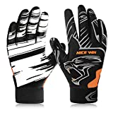 NICEWIN Football Gloves Receiver Gloves Fashion Leopard Print Breathable Mesh Antiskid Silicone for...