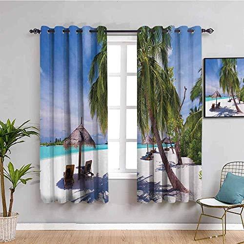 LucaSng Cortinas de Opacas - Playa árboles Cielo tumbonas - 160x115 cm - para Sala Cuarto Comedor Salon Cocina Habitación - 3D Impresión Digital con Ojales Aislamiento Térmico Cortinas