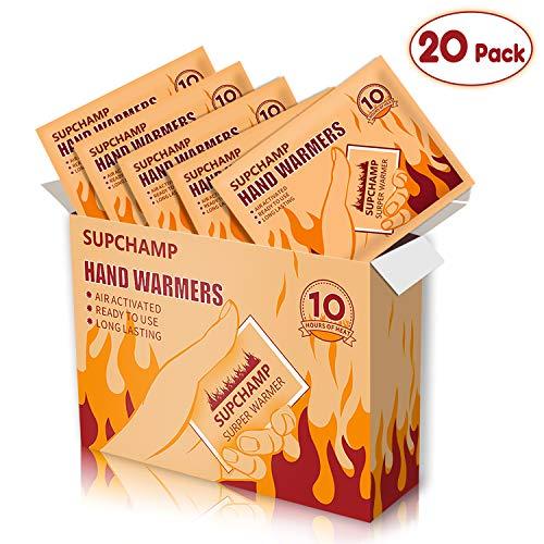 Supchamp Handwärmer, 20 Stück Einweghandschuhwärmer, bis zu 10 Stunden Wärme, Sichere, Geruchsneutrale Handwärmepads für Outdoor-Aktivitäten im Winter
