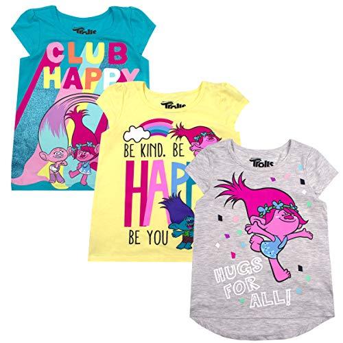 DREAMWORKS TROLLS Trolls Girls and Toddler 3-Pack T-Shirts Grey 6X