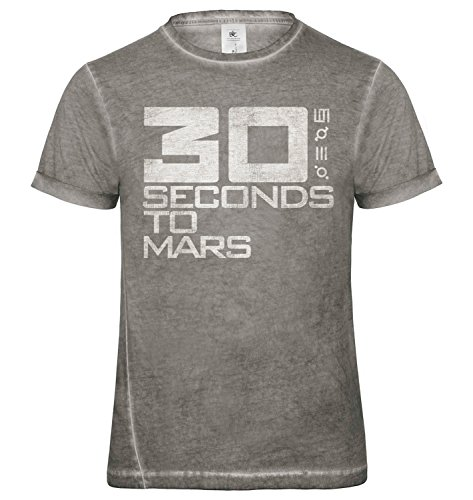 LaMAGLIERIA Herren T-Shirt Vintage Look 30 Seconds to Mars Logo Grunge Print Cod. Grpr0004 - Männer Vintage DNM Plug-in T-Shirt mit Rock Vorderdruck, Large, Grey Clash