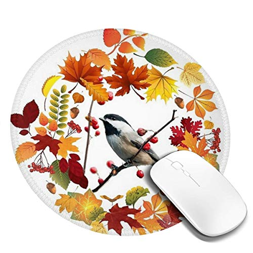 7.9x7.9 in ronde muismat bureau toetsenbord mat herfst krans zwart gevangen chickadee vogel grote muis pad voor computer desktop pc laptop
