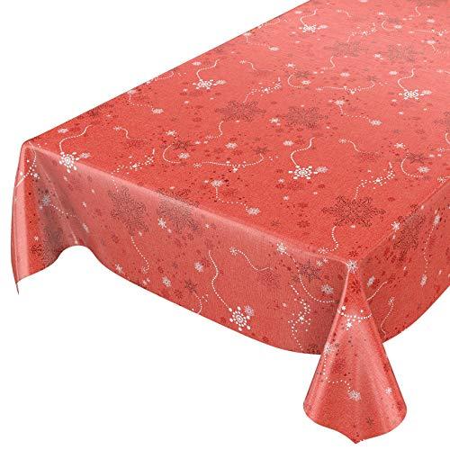 ANRO Wachstuchtischdecke Wachstuch Wachstischdecke Tischdecke Weihnachten Schneeflocken Rot 100x140cm