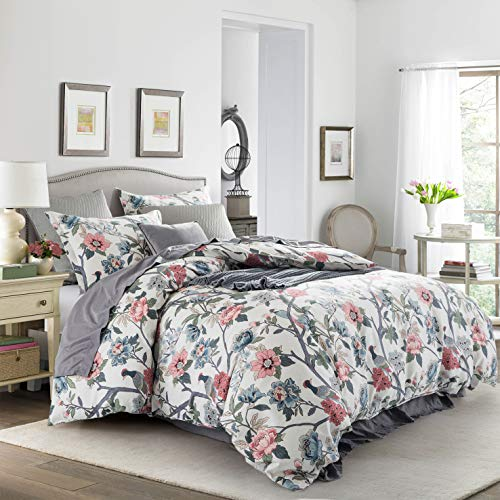 Cottage Bloom Garden Duvet Cover Set French Country Provincial Chic Floral Birds Bedding Peony Blossom Tree Branches (Muted, Super King)