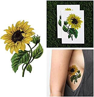 Tattify Colorful Flower Temporary Tattoo - Sunny Disposition (Set of 2 Tattoos) - Long Lasting and Waterproof