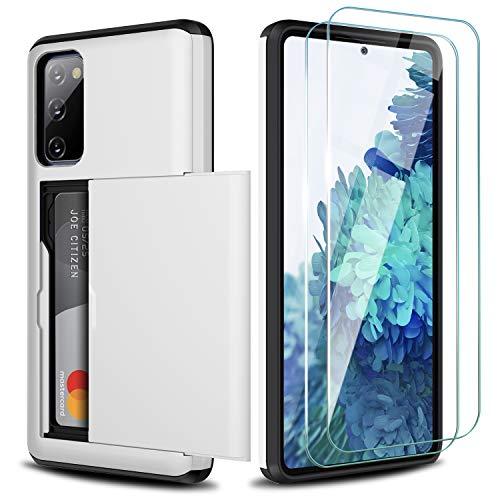 ZUSLAB Compatible con Samsung Galaxy S20 FE 5G Ranura Tarjeta Funda,[2 Pack Cristal Templado] TPU antichoque Case - Blanco