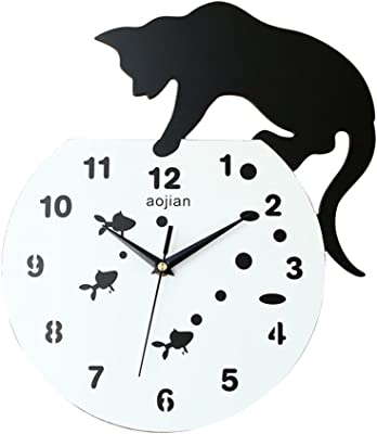Wall clock, simple style black cat wall clock - wall fashion wall clock, living