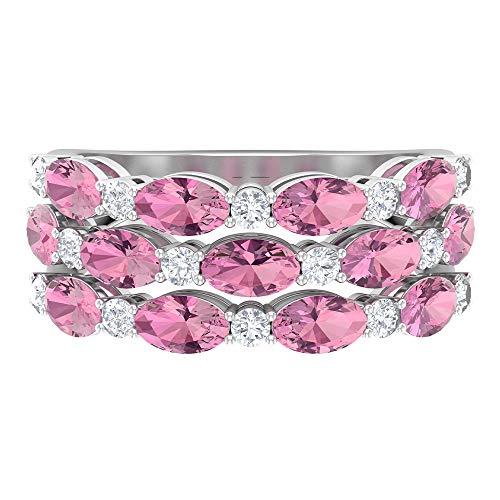 Rosec Jewels 18 quilates oro blanco ovalada round-brilliant-shape H-I Pink Diamond Tourmaline