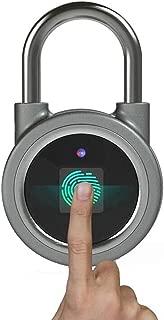 Fingerprint Padlock, Smart Bluetooth Security Lock with USB Charge, Metal Waterproof Anti-Theft Keyless Padlock Suitable for House Door, Suitcase, Backpack, Gym, Bike, Office