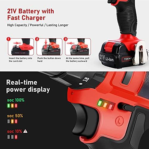TEENO taladro Percutor sin cable 21V+2 baterías de iones de litio+20 accesorios + guantes profesionales