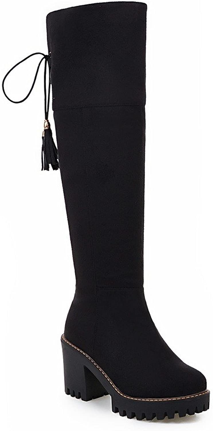 AIWEIYi Womens Faux Suede Square High Heels Knee High Boots Lace up Thigh High Boots Black