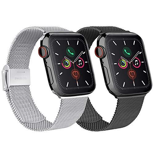 Mugust Pack 2 Compatible avec Apple Watch Bracelet 38mm 40mm 42mm 44mm Sport Bracelet en Acier Inoxydable de Remplacement Compatible avec iWatch Series 6 5 4 3 2 1 Se… (01 Noir+Argent, 38mm/40mm)