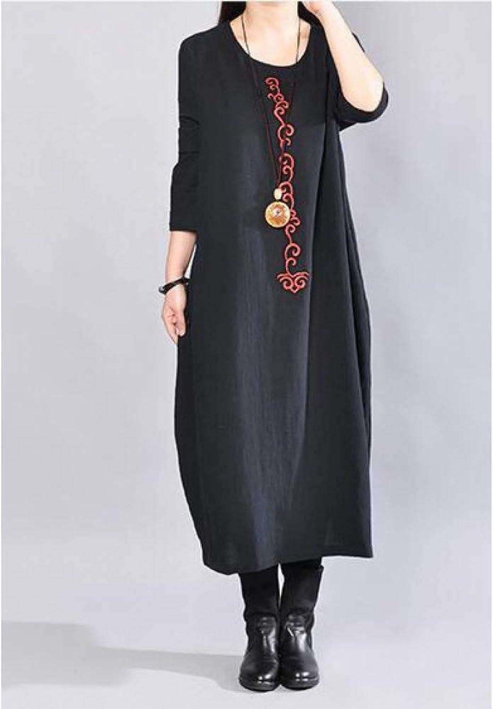 Cxlyq Dresses Large Size Women's Round Neck Long Section Cotton Linen Dress Loose Women's Clothing