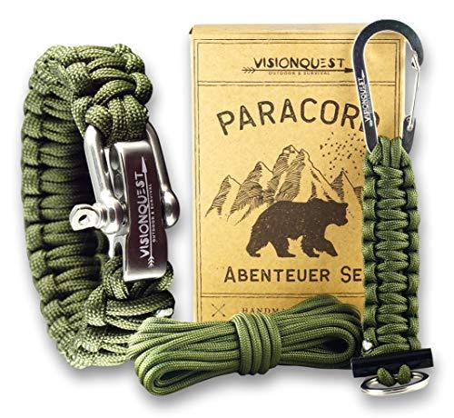 Visionquest Outdoor & Survival Paracord Set   Armband & Schlüsselanhänger   Ersatzseil   Flechtanleitung im EBook   Feuerstahl