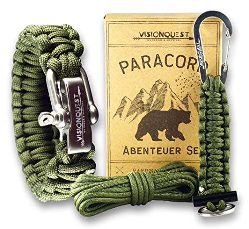 Visionquest Outdoor & Survival Paracord Set | Armband & Schlüsselanhänger | Ersatzseil | Flechtanleitung im EBook | Feuerstahl