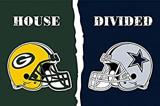 Green Bay Packers & Dallas Cowboys House Divided Logo Flag 3x5- With 2 Grommets