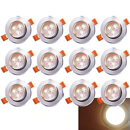 Hengda LED Einbau-Strahler Inkl. 12 x 3W LED Einbaustrahler 230V Deckenstrahler Schwenkbar Einbauleuchte Warmweiss Deckeneinbaustrahler Einbauspot